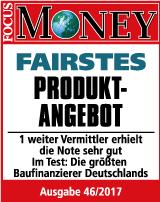 Baufi24 - fairstes Produktangebot in der Baufinanzierung laut Focus Money