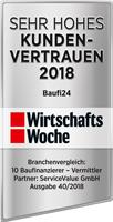 Baufi24 - Siegel Hohes Kundenvertrauen der Wirtschaftswoche