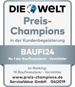 Baufi24 - Preis-Champions_Branchengewinner - Nr. 1 der Baufinanzierer - Vermittler
